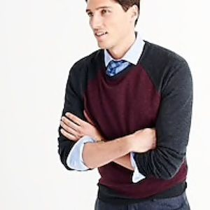 J. Crew Merino Wool Sweater Navy Blue & Maroon